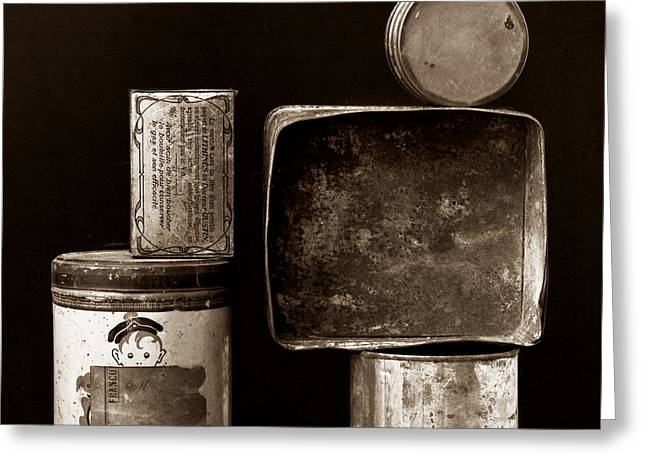 Black And White Photos Greeting Cards - Old fashioned iron boxes. Greeting Card by Bernard Jaubert