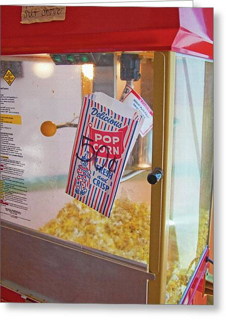 Crisp Mixed Media Greeting Cards - Old-Fashioned Popcorn Machine Greeting Card by Steve Ohlsen