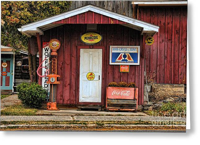 5 Cents Greeting Cards - Old Filling Station Greeting Card by Edward Sobuta