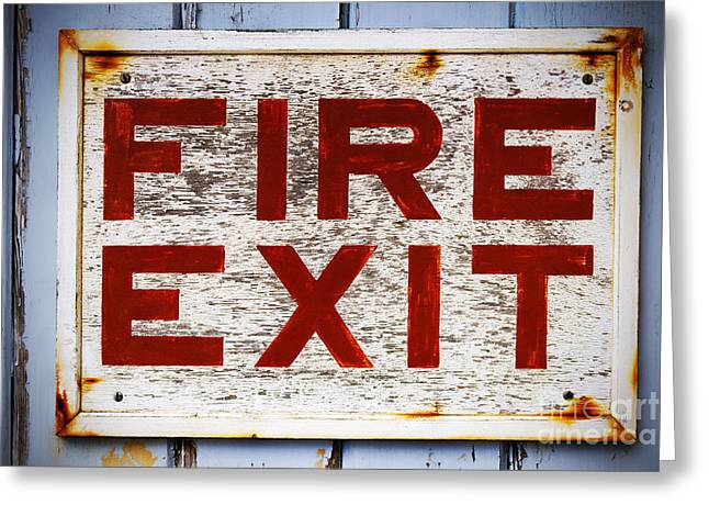 Exit Sign Greeting Cards - Old Fire Exit sign Greeting Card by Richard Thomas