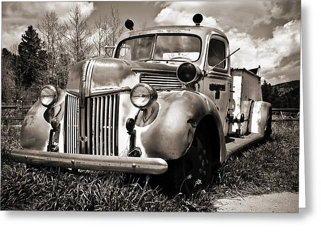 Marilyn Hunt Greeting Cards - Old Firetruck Greeting Card by Marilyn Hunt
