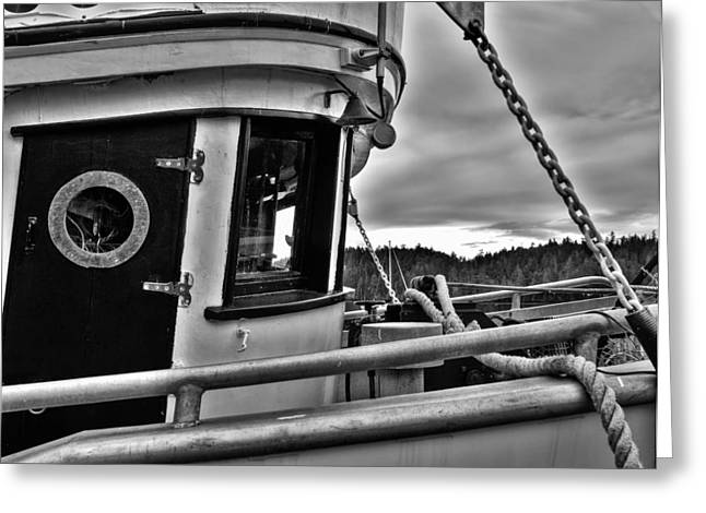 Wooden Ship Greeting Cards - Old Fishing Boat Cabin Mono Greeting Card by Derek Holzapfel