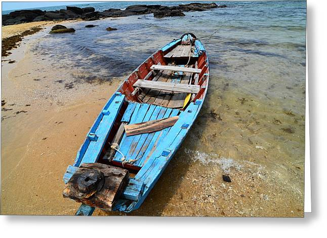 Row Boat Pyrography Greeting Cards - Old fishing boat Phu Quoc Greeting Card by Jacques Van Niekerk