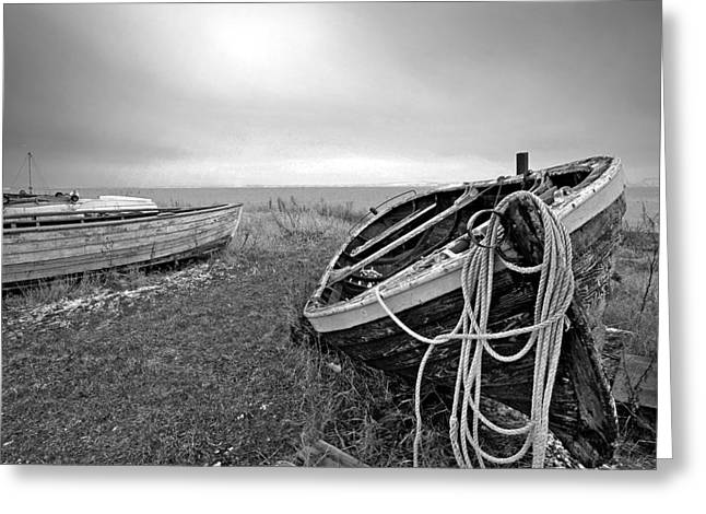 Fyn Greeting Cards - Old Fishing Boat Greeting Card by Robert Lacy