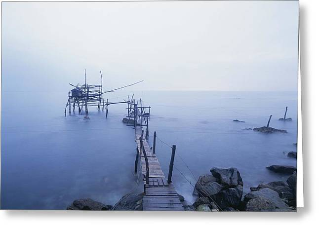 Old Fishing Platform At Dusk Greeting Card by Axiom Photographic