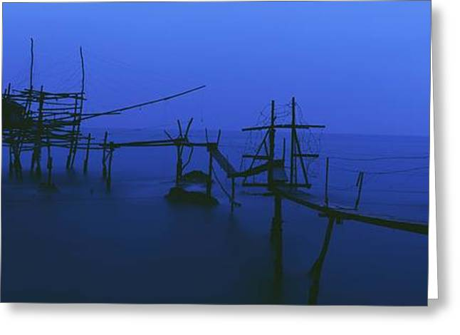 Old Fishing Platform Over Water At Dusk Greeting Card by Axiom Photographic
