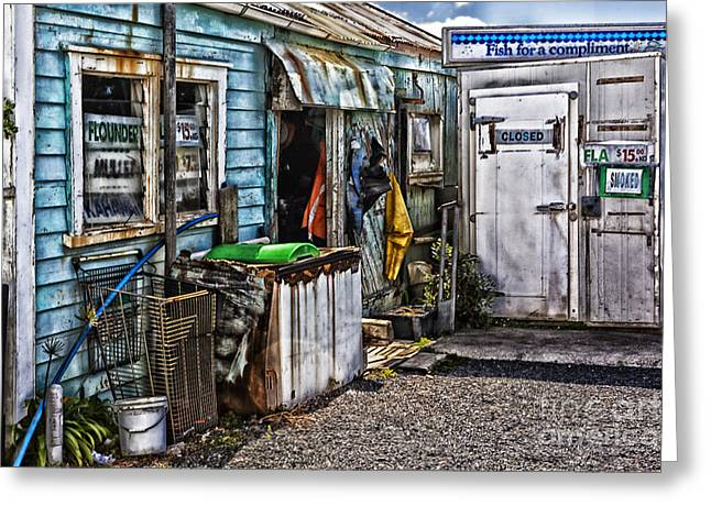 Old Fishing Store At Rawehe Greeting Card by Avalon Fine Art Photography