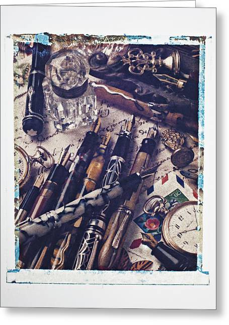 Old Fountain Pens Greeting Card by Garry Gay