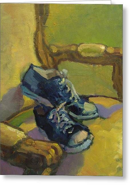 Sneakers Paintings Greeting Cards - Old Friends Greeting Card by Caleb Colon