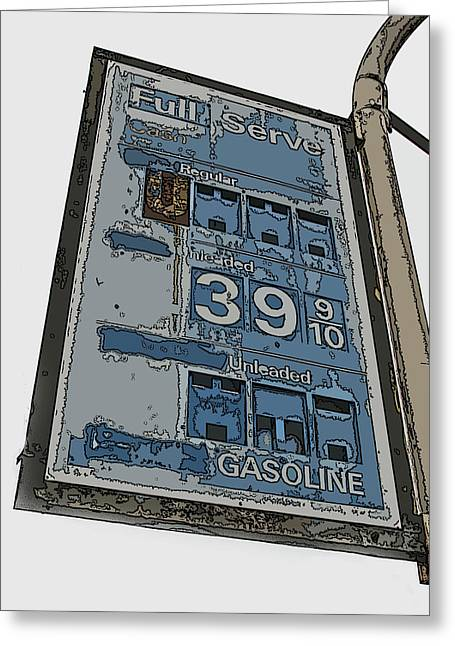 Sheats Greeting Cards - Old Full Service Gas Station Sign Greeting Card by Samuel Sheats