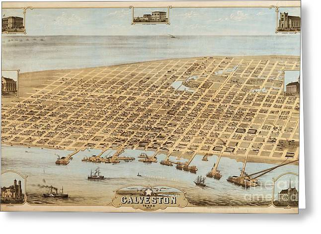 Old Galveston Map Greeting Card by Pg Reproductions
