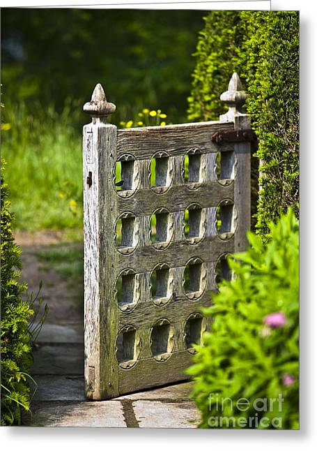 Back Dor Greeting Cards - Old Garden Entrance Greeting Card by Heiko Koehrer-Wagner