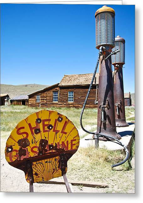 Rusted Greeting Cards - Old Gas Pumps Greeting Card by Shane Kelly