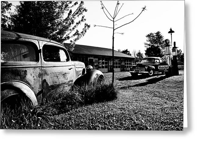 Rusted Cars Greeting Cards - Old Gas Station Greeting Card by Cale Best