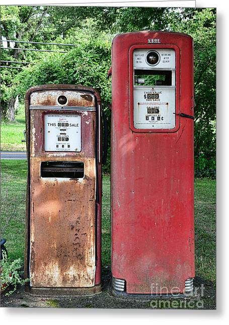 Gas Meter Greeting Cards - Old Gas Station Pumps Greeting Card by Paul Ward