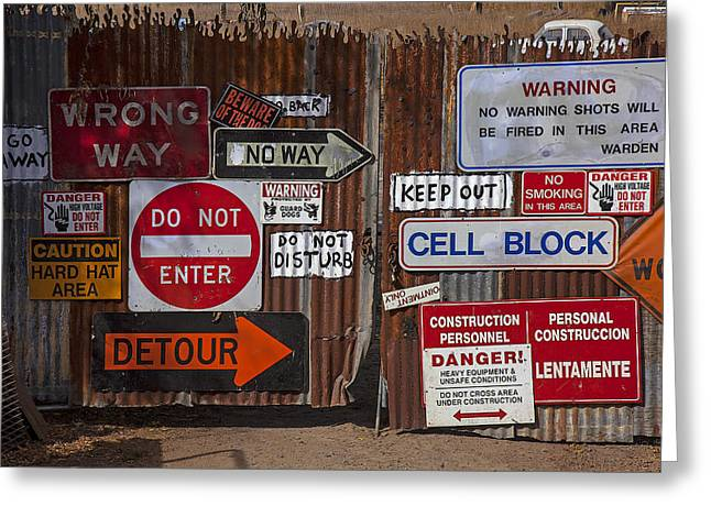 Entry-way Greeting Cards - Old gate with warning signs Greeting Card by Garry Gay