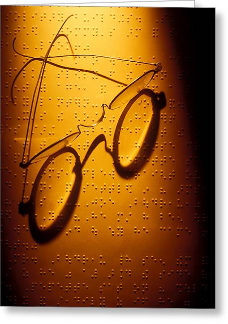 Sight See Greeting Cards - Old glasses on Braille  Greeting Card by Garry Gay