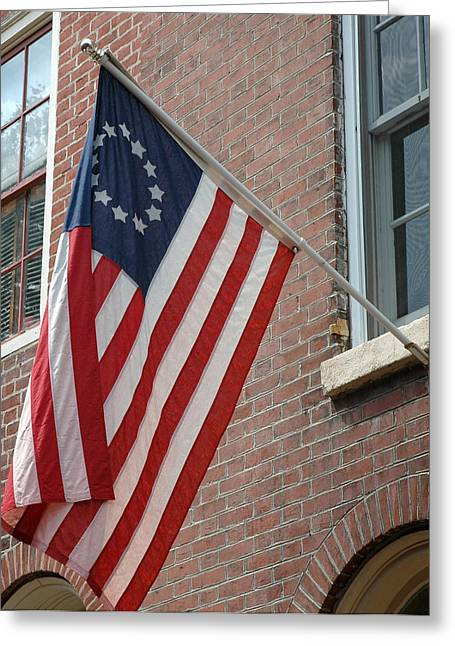 Philadelphia Alley Greeting Cards - Old Glory - Philadelphia Greeting Card by Frank Mari