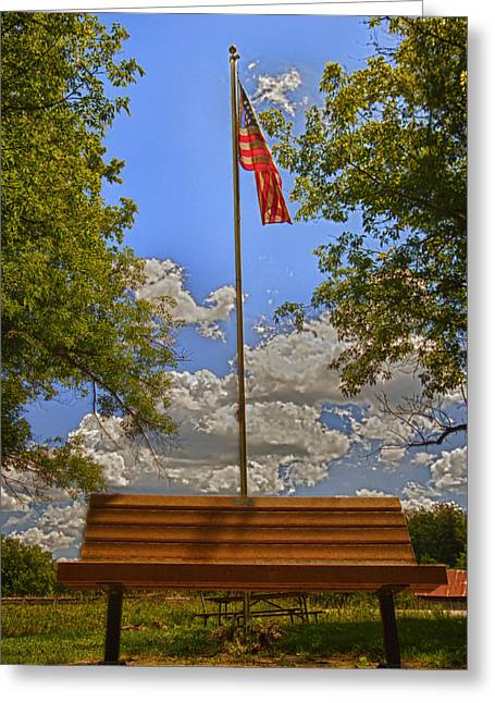 July 4th Greeting Cards - Old Glory Bench Greeting Card by Bill Tiepelman