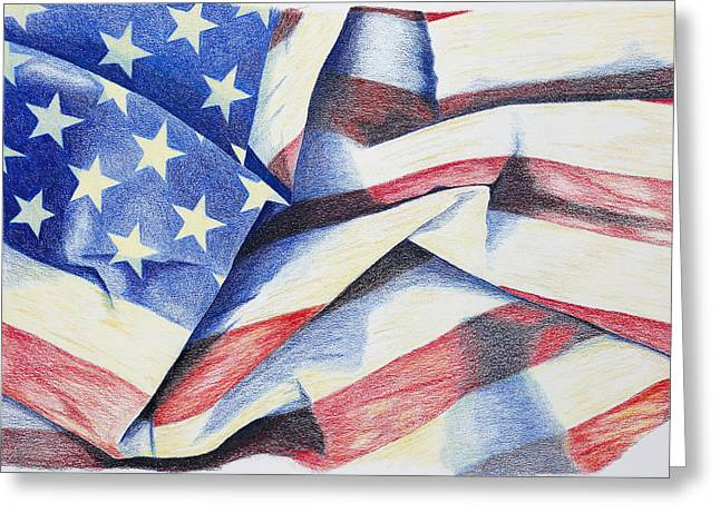 Veteran Drawings Greeting Cards - Old Glory Greeting Card by Garry McMichael