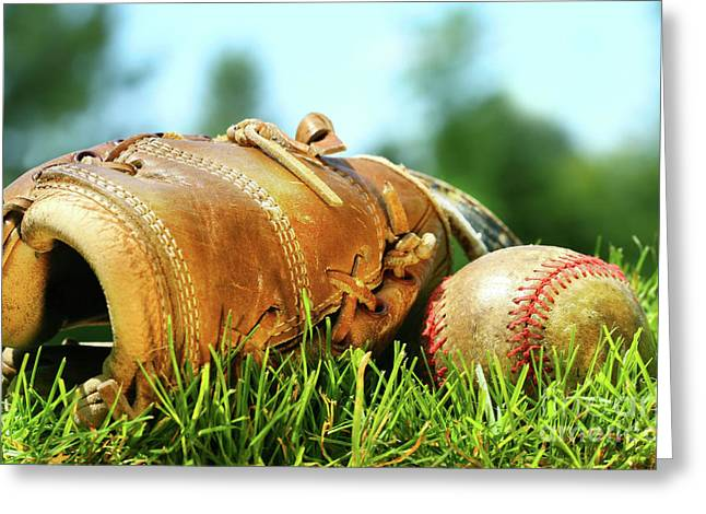 Old Pitcher Photographs Greeting Cards - Old glove and baseball  Greeting Card by Sandra Cunningham