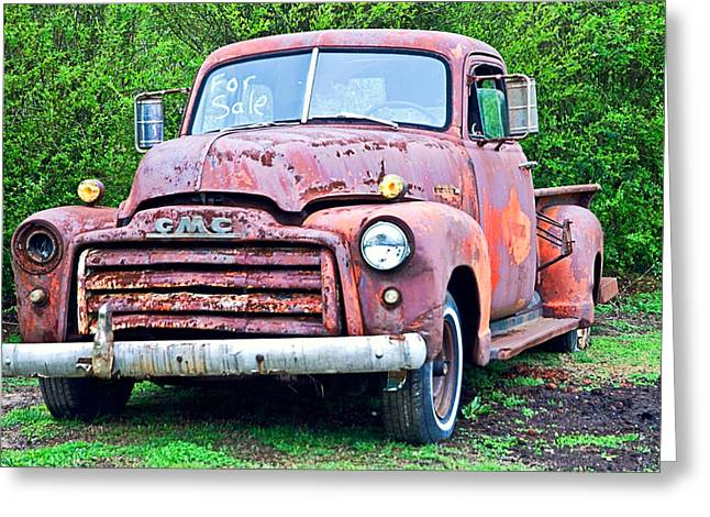 Susan Leggett Greeting Cards - Old GMC For Sale Greeting Card by Susan Leggett