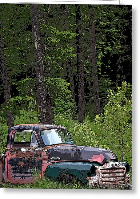 1949 Plymouth Greeting Cards - Old GMC Pickup Greeting Card by Steve McKinzie
