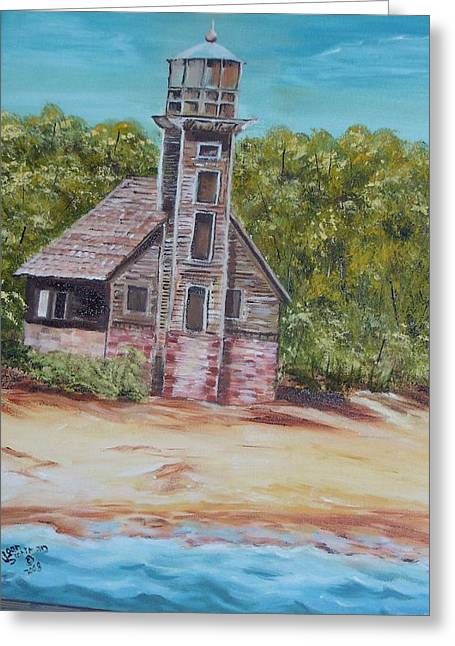 Unrestored Greeting Cards - Old Grand Isle East Channel Light Greeting Card by Joan Stohlman