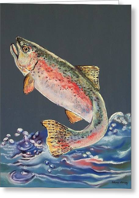 Rainbow Trout Pastels Greeting Cards - Old Grandad Greeting Card by Celene Terry