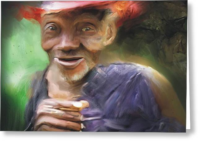 Haitian Digital Art Greeting Cards - Old Haitian Field Worker Greeting Card by Bob Salo