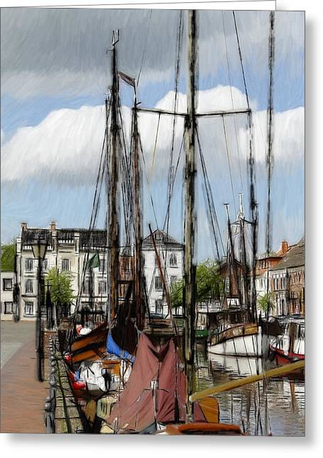 Color Colorful Pastels Greeting Cards - Old Harbor Greeting Card by Stefan Kuhn