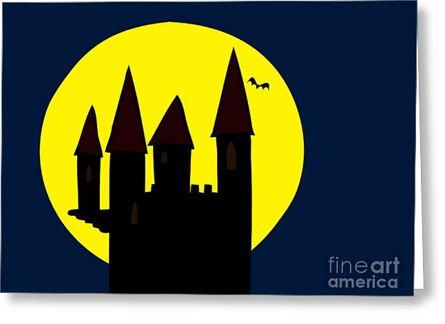 Castle Horror Illustration Greeting Cards - Old Haunted Castle In Full Moon Greeting Card by Michal Boubin