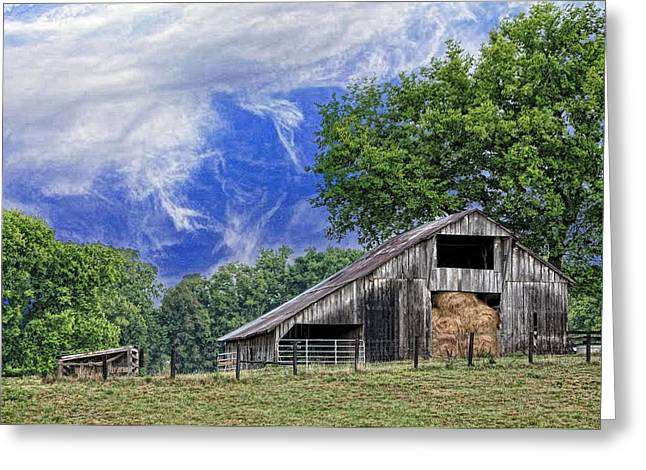Tennessee Hay Bales Greeting Cards - Old Hay Barn Greeting Card by Jan Amiss Photography
