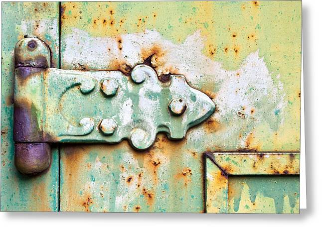 Brown Building Greeting Cards - Old hinge Greeting Card by Tom Gowanlock