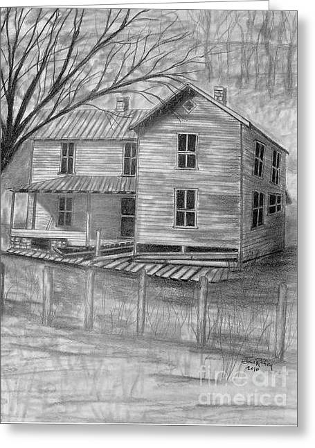 Wooden Building Drawings Greeting Cards - Old Homeplace Greeting Card by Julie Brugh Riffey