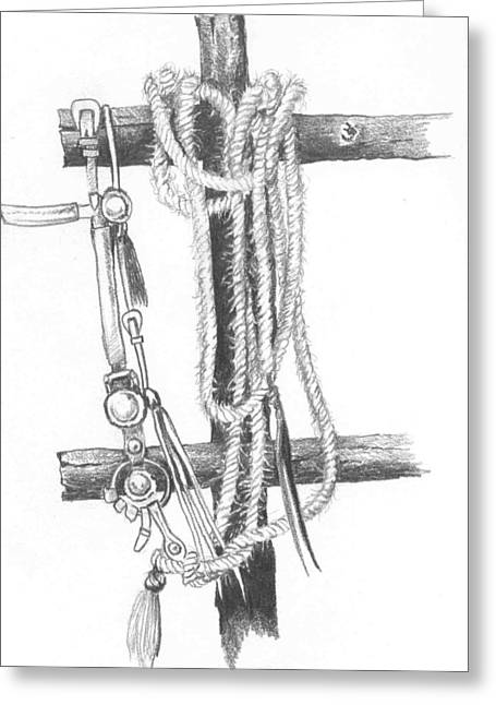 Rope Drawings Greeting Cards - Old Horsehair rope Greeting Card by Russell Cornelius