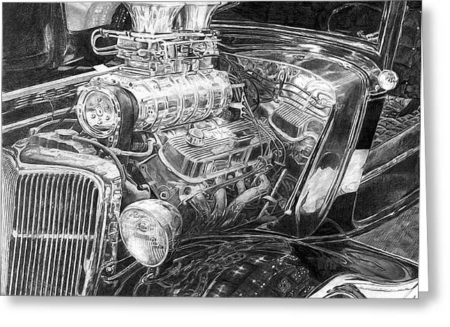 Holdorf Greeting Cards - Old Hot Rod Greeting Card by Kurt Holdorf