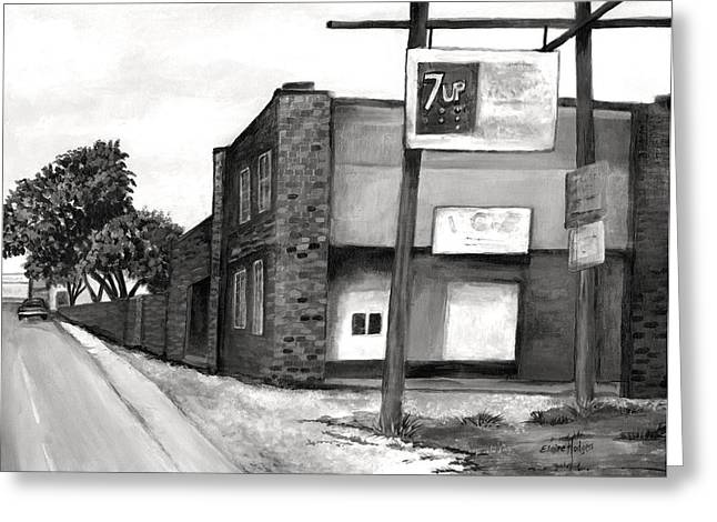 Seven-up Sign Greeting Cards - Old Ice House in Black and White Greeting Card by Elaine Hodges