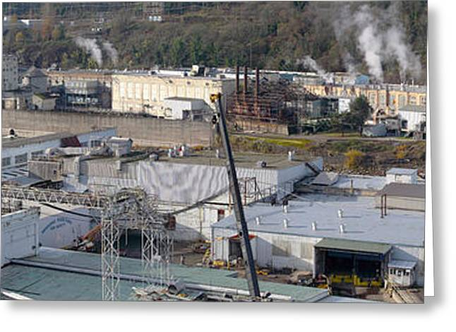 Work Area Greeting Cards - Old industrial complex panorama Oregon city OR. Greeting Card by Gino Rigucci