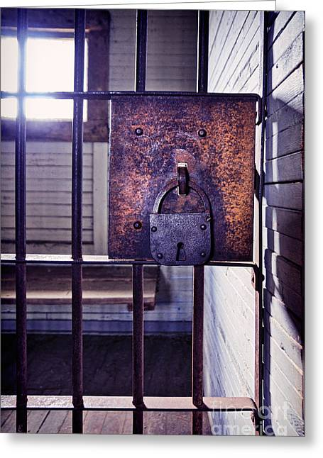 Imprisonment Greeting Cards - Old Jail Cell Greeting Card by Jill Battaglia