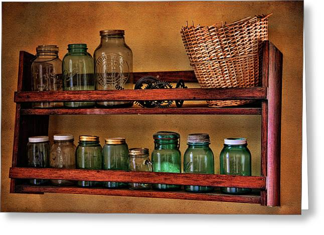 Canning Jars Greeting Cards - Old Jars Greeting Card by Lana Trussell