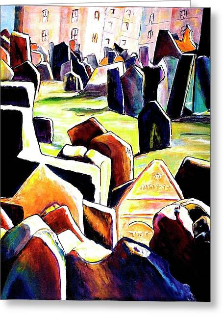 Prague Paintings Greeting Cards - Old Jewish Cemetary in Prague Greeting Card by Miki  Sion