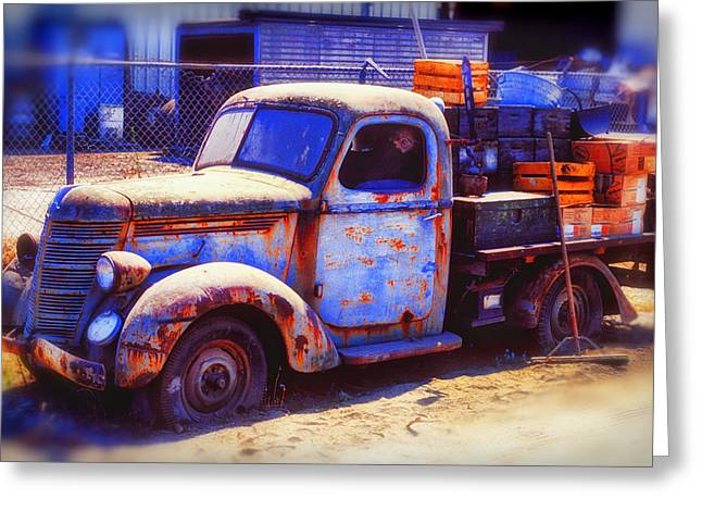 Rusty Pickup Truck Greeting Cards - Old junk truck Greeting Card by Garry Gay