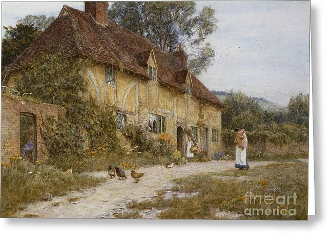 Female Artist Greeting Cards - Old Kentish Cottage Greeting Card by Helen Allingham