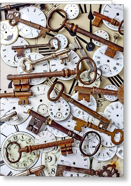 Clock Hands Greeting Card featuring the photograph Old Keys And Watch Dails by Garry Gay