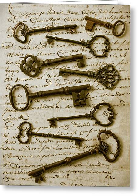 Protection Greeting Cards - Old keys on letter Greeting Card by Garry Gay