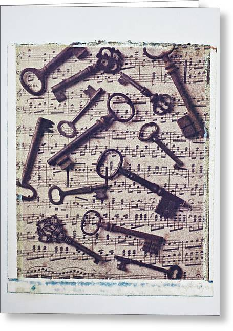 Transfer Greeting Cards - Old keys on sheet music Greeting Card by Garry Gay