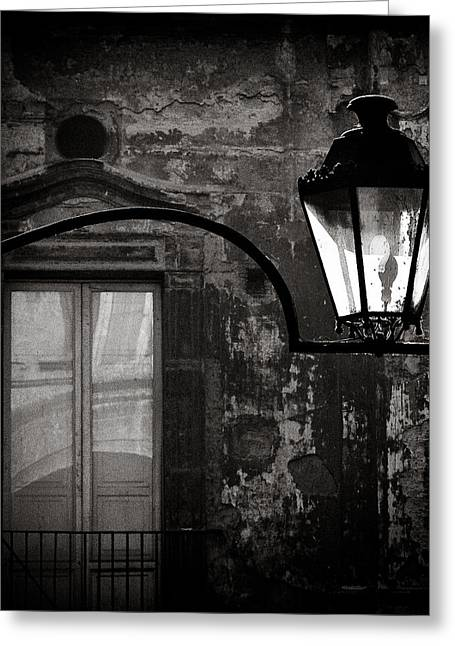 Monochrome Greeting Cards - Old Lamp Greeting Card by Dave Bowman