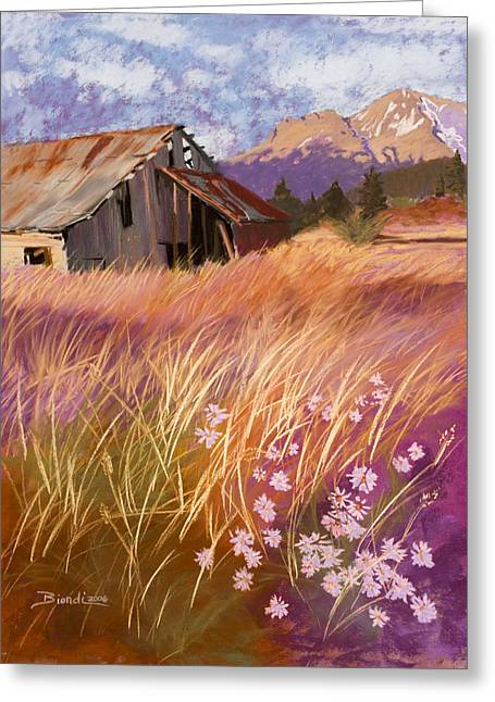 Aster Pastels Greeting Cards - Old Land Trust Barn Mount Shasta Greeting Card by Janet Biondi