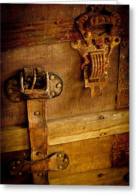 Chest Mixed Media Greeting Cards - Old Leather and Rust Greeting Card by Colleen Crowley